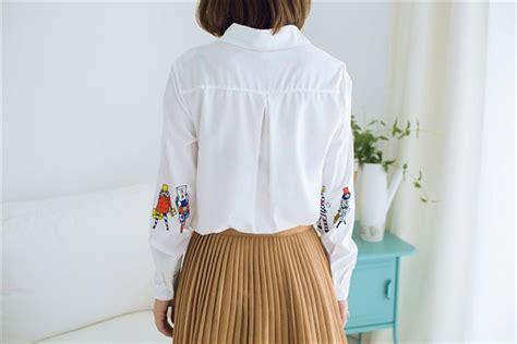 Blouse Atasan Import Baju Korea jual baju atasan kemeja hem blouse putih lengan panjang
