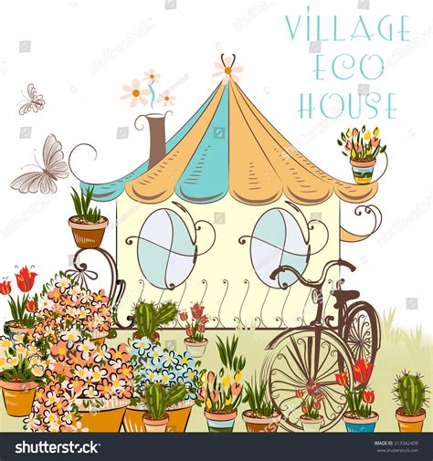 the value of your house over and above the mortgage cute vector illustration with little village house and garden above eco house