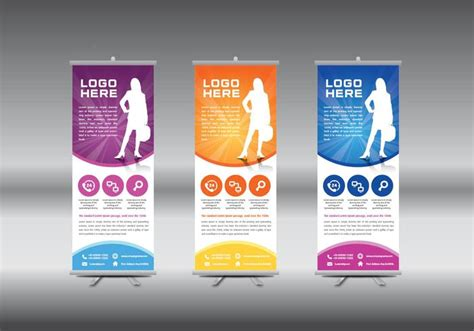 templates for roll up banners roll up banner template vector illustration download