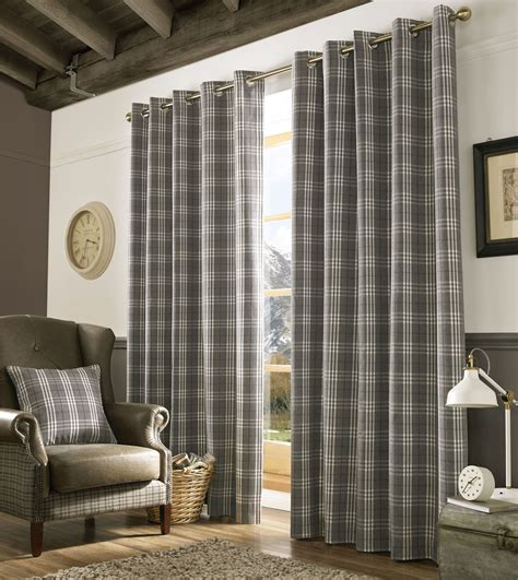 Grey Plaid Curtains with Grey Tartan Plaid Ready Made Eyelet Lined Curtain Cushion Cover Ebay