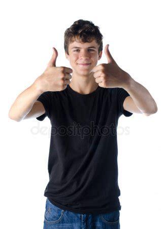 cute teenage boy portrait on white background — stock