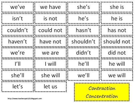 printable contraction games the teacher spot teacher resources freebie contraction