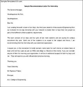 printable sample recommendation letter for internship