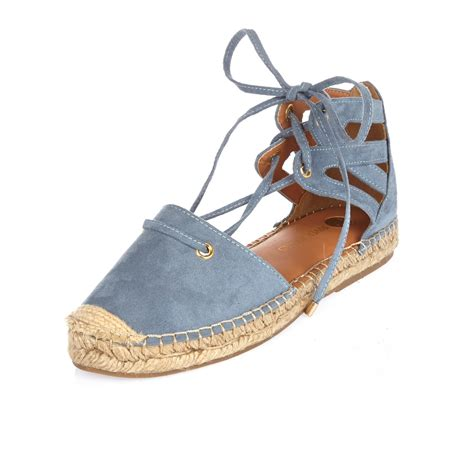 tie up sandals lyst river island blue tie up espadrille sandals in blue