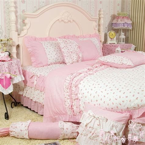 pink king size comforter sets rose print ruffle bedding