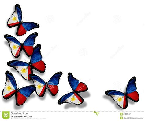 philippine flag butterflies isolated on white stock