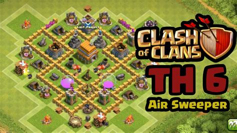 coc th6 layout with air sweeper coc th 6 air sweeper hybrid base youtube