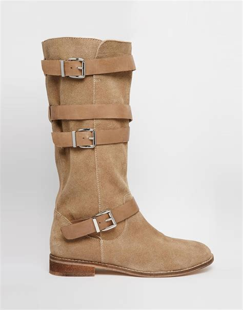 asos candid suede knee high boots in beige sand lyst
