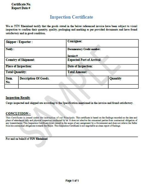 certificate of inspection template inspection certificate t 220 v rheinland