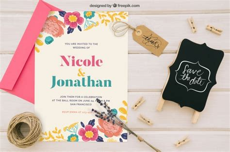 Wedding Invitation Mockup Psd by Mock Up With Wedding Invitation Badge And Ornaments Psd