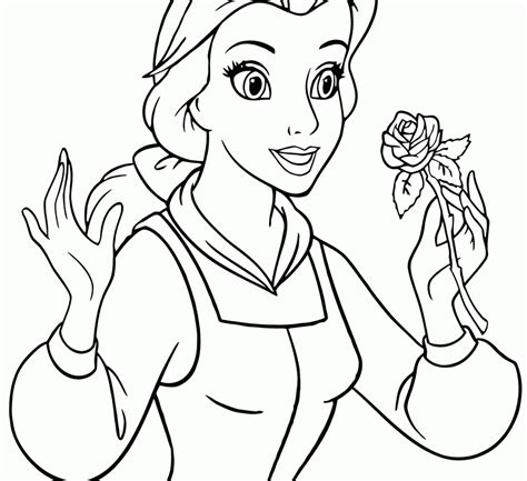 easy coloring pages of disney characters easy coloring pages for kids of princess belle in disney