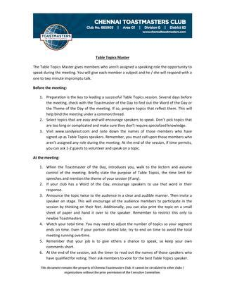 table topics master guidelines tt master by chennai toastmasters club issuu