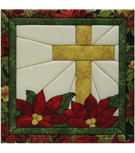 poinsettia cross quilt magic kit 12 quot x12 quot jo