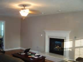 Our freshly painted taupe color family room