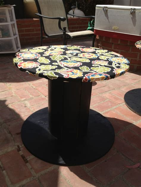 Wood Patio Wooden Cable Spool Turned Into A Patio Table I Used Black