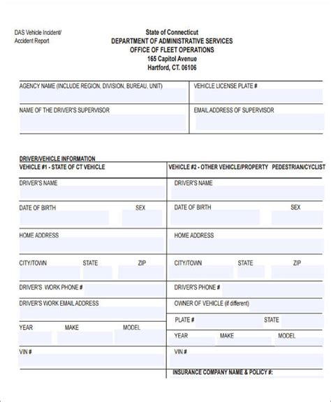 incident reports sles motor vehicle report template 28 images report form