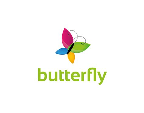 butterfly logo abstract colorful butterfly with green