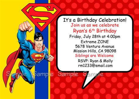 superman superpowers card template superman birthday invitations ideas bagvania free