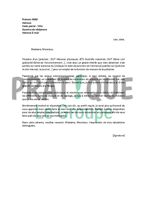 Lettre De Motivation Stage Technicien Laboratoire Lettre De Motivation Pour Un Emploi De Technicien De Mesure De La Pollution Pratique Fr