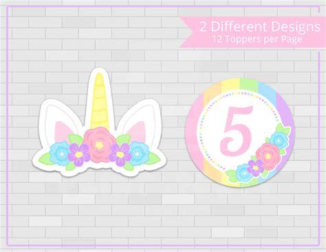 free printable unicorn cupcake toppers printable girl s unicorn cupcake toppers and wrappers