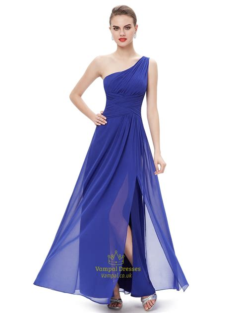 Royal Blue Bridesmaid Dress by Royal Blue Chiffon One Shoulder Bridesmaid Dresses With