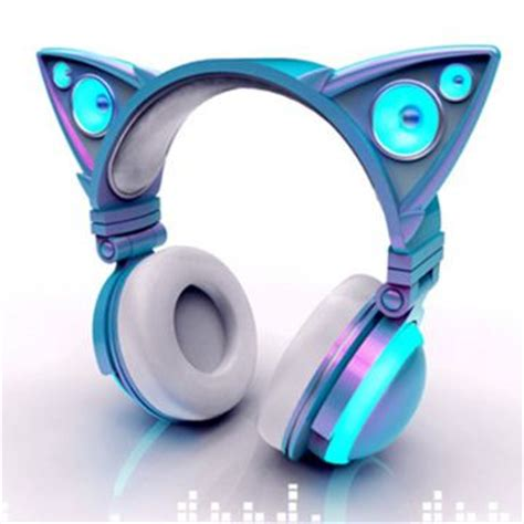 Headset Nekomimi cat ear shaped headphones glow in bright led lights mind with a bit of bass