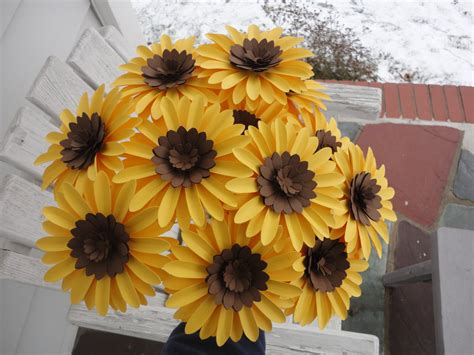 Paper Sunflowers - paper sunflower bouquet dozen sunflowers by poshstudios