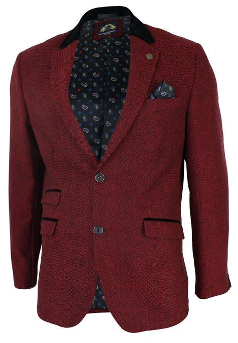 Jaket Blazer Maroon mens slim fit burgundy maroon black herringbone tweed vintage blazer jacket retr ebay