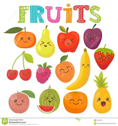 imagenes de frutas kawaii frutas sonrientes del kawaii lindo colecci 243 n sana del