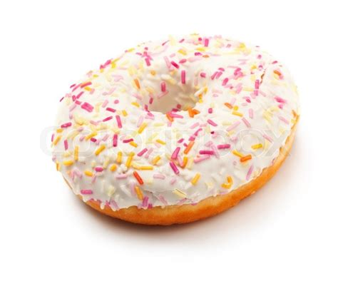Toys Donuts Whitesugar sugar glazed donut covered in sprinkles isolated on white stock photo colourbox