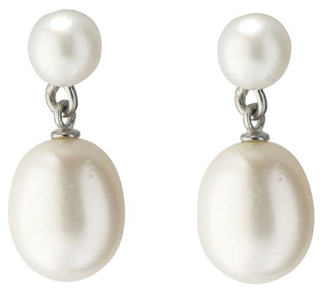 freshwater white cultured pearl drop earrings with 925