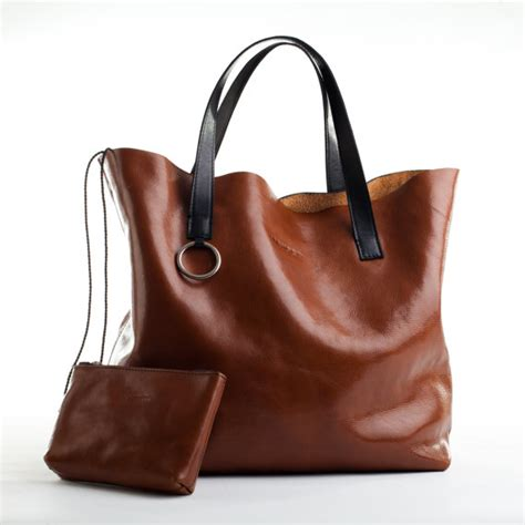Handmade Leather Totes - items similar to handmade large leather tote bag in