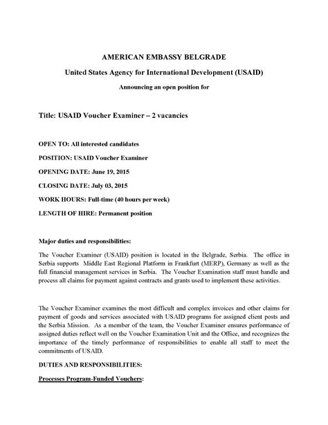 Per Diem Cover Letter by Vacancy Announcement Usaid Voucher Examiner 2 Vacancies U S Agency For International Development