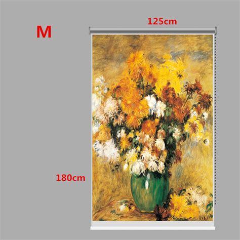 curtain paintings pag wall decor window curtain roller shutters flower oil