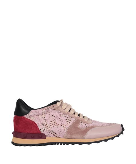 valentino sneakers valentino rockrunner lace and suede low top sneakers in