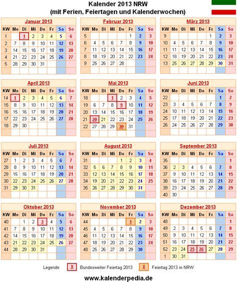 Nrw Kalender 2015 Ferien Nordrhein Westfalen Nrw 2013 220 Bersicht Der