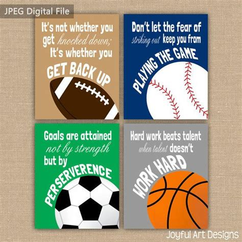 wall decor sports set of 4 canvas art sports room decor set of 4 motivating sports quotes printable signs