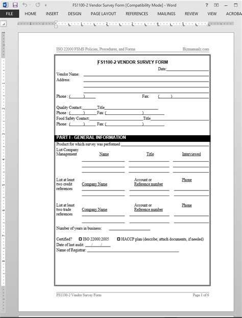 vendor survey template fsms vendor survey form template