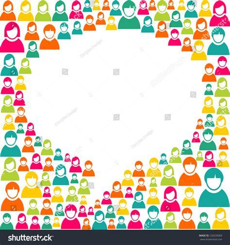 social speech bubbles different colors shapes stock vector white social speech bubble shape over diversity people