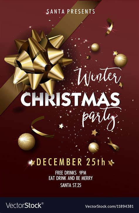layout design for christmas party merry christmas party layout poster template vector image