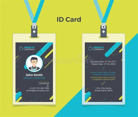id card design eps creative id card black blue color stock vector