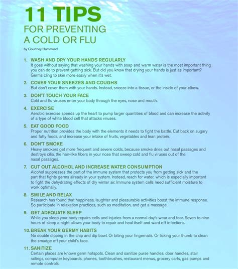10 Tips On Avoiding Cold by 11 Simple Tips For Preventing A Cold Or Flu