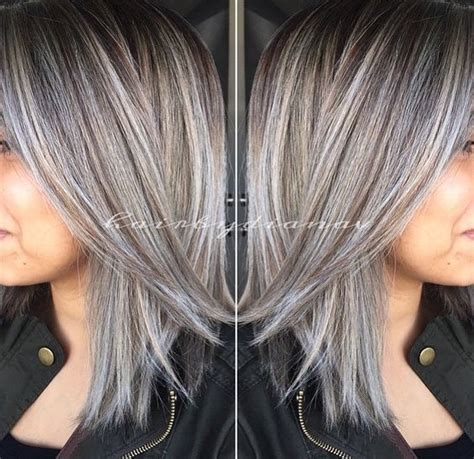 highlighting gray hair pictures amazing grey silver highlights the haircut web