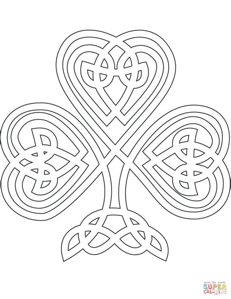 celtic coloring pages celtic style shamrock coloring page free printable