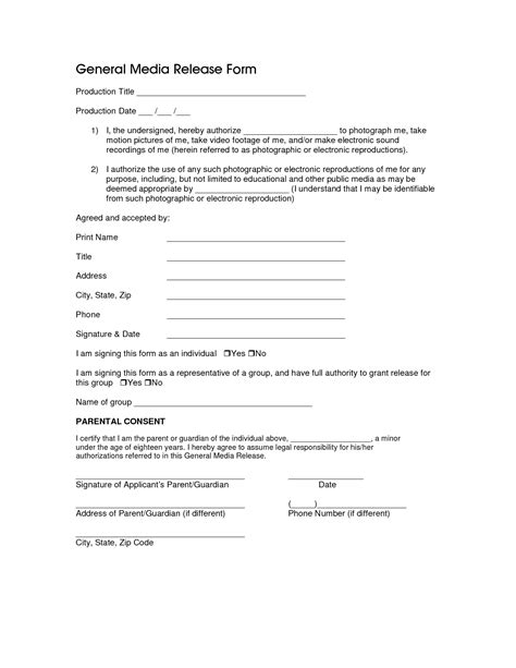 photo release consent form template best photos of general consent form template