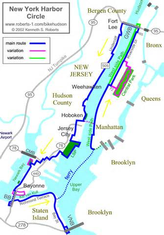 New York Harbor Map by New York Harbor Circle Route Map