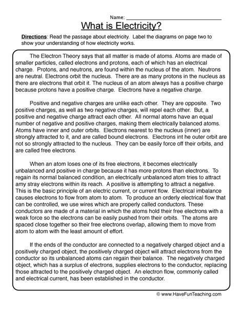 Electricity Worksheets by Electricity Worksheets Teaching