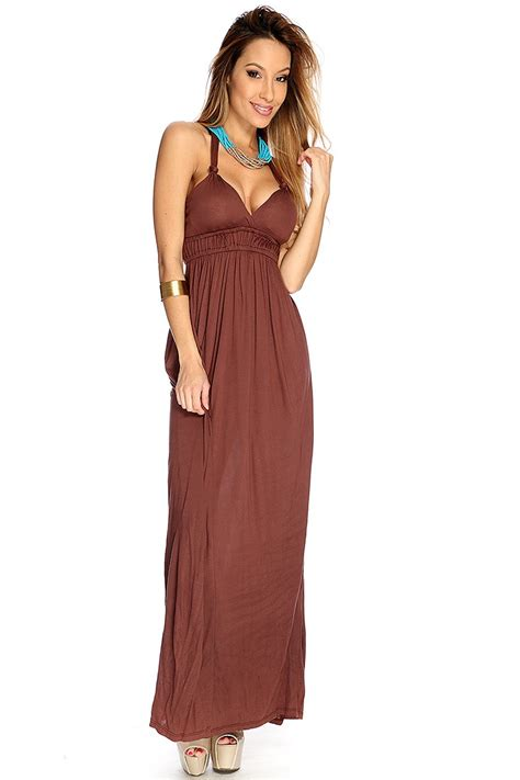 Brown Maxi brown halter maxi dress trend 2016 2017 fashion gossip