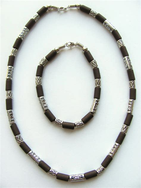 mens bead necklaces cocoa two tone brown surfer beaded necklace