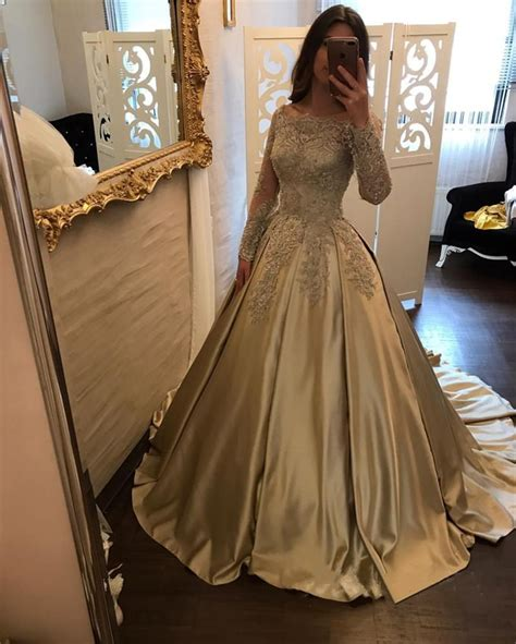 Wedding Gown Gold Premium Series vintage gold lace sleeves satin gowns wedding dresses 2018 alinanova